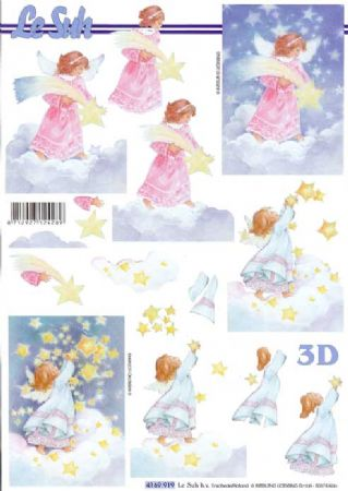 Angel Catching A Star Designs 3d Decoupage Sheet